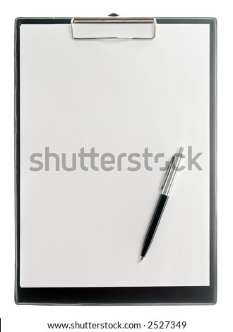 A clipboard with pen, isolated on white