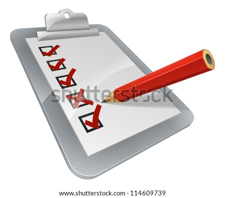 A clipboard with pencil marking on it. A survey, opinion poll, or inspection document - stock photo