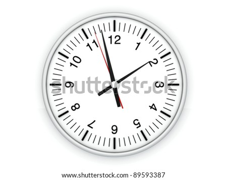 A Clock. 3D rendered Illustration. Isolated on white.