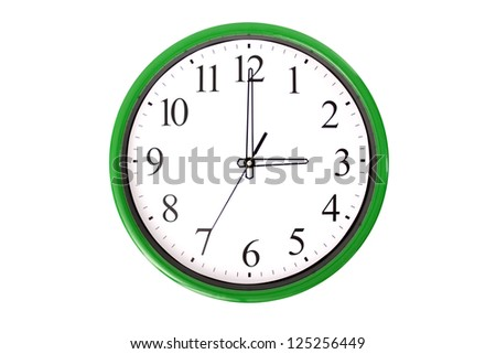 A clock from a serie showing 3 o'clock. Isolated on a white background. - stock photo