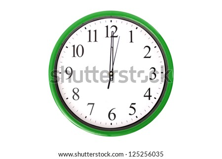 A clock of a serie showing 12 o'clock. Isolated on a white background. - stock photo