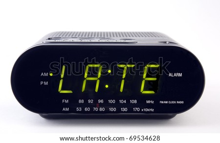 A Clock radio with the word LATE - stock photo