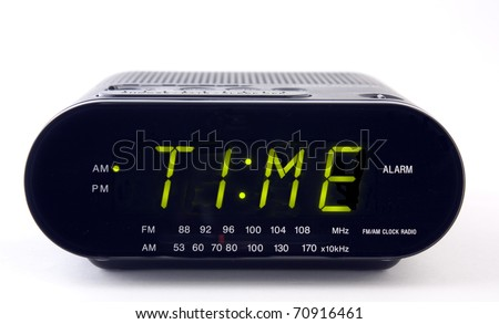 A Clock radio with the word TIME - stock photo