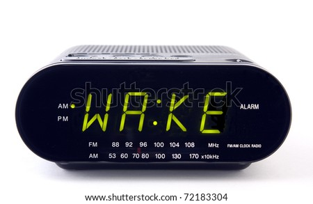A Clock radio with the word WAKE - stock photo