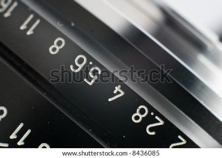 A close shot of a leica lens, r90/2 - stock photo