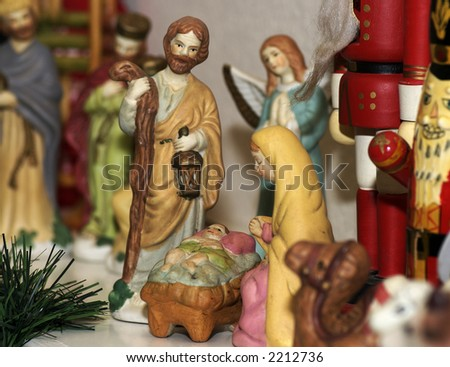 A close shot of Christmas decoration on a mantle above my fireplace. - stock photo