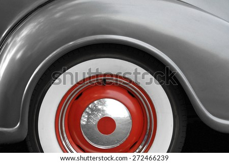 A Close-up Abstract Image of a Vintage Automobile  - stock photo