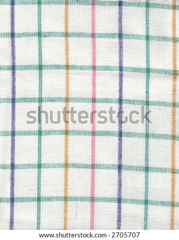 A close-up detail from a squared tea-cloth - stock photo