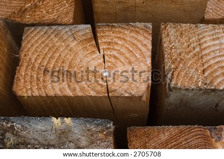 A close-up from a wood-beam - stock photo
