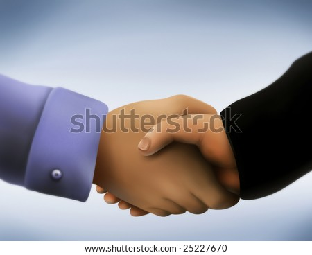 a close up illustration of two men in business attire engaging in a handshake - stock photo