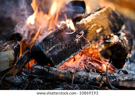 A close up image of a burning camp fire
