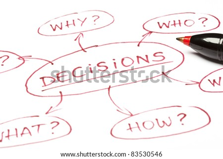 A close up image of a DECISIONS chart made with red pen on paper. - stock photo