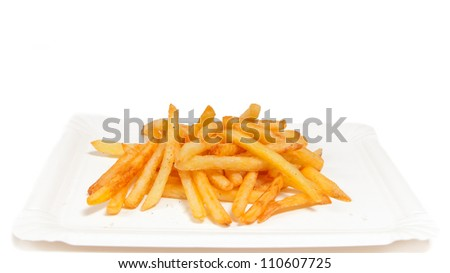 A close-up image of golden French fries