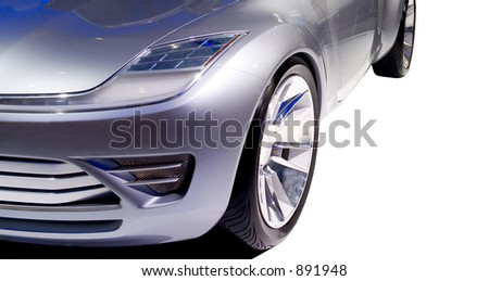A close-up look at the design of a concept cars front end. Seen at the 2006 Detroit auto show. Many more cars available in my gallery. - stock photo