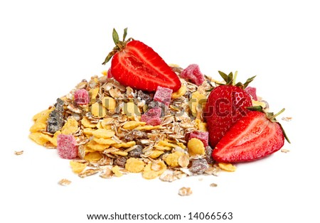 A close up macro of delicious healthy muesli wiht dry bits of pawpaw, pineapple, prunes, raisins and ripe strawberries. - stock photo
