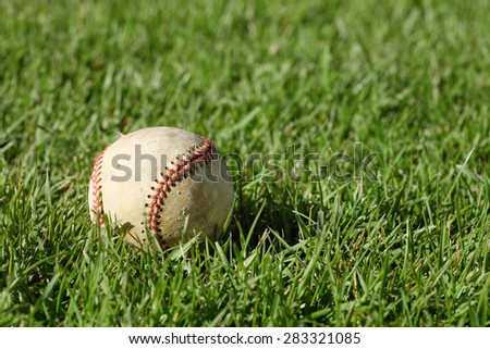 A close up of a baseball laying in grass