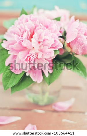 A close up of a beatiful bunch of pastel pink peony in a vase on the wooden floor