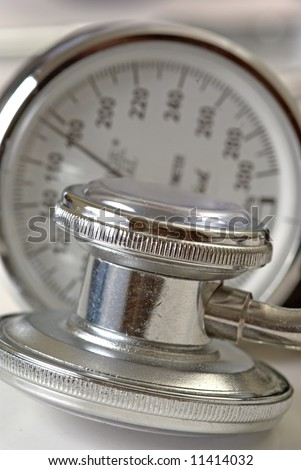 A close up of a blood pressure reading - stock photo