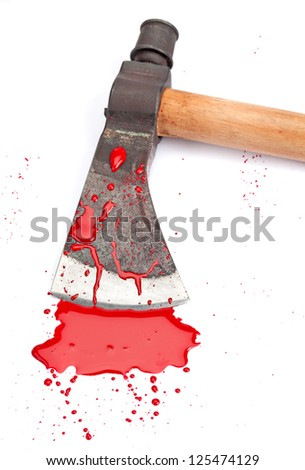 A close-up of a bloody axe and small pool of blood (red paint) isolated on white. - stock photo