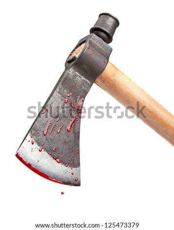A close-up of a bloody axe blade in a swinging position isolated on white. - stock photo