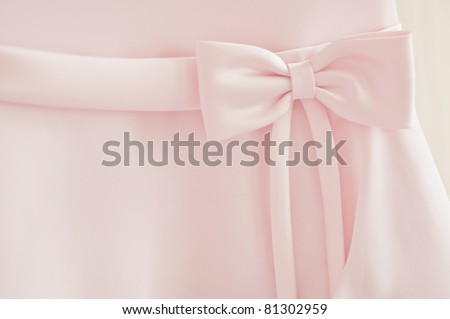 A close up of a bridesmaid dress with a large silk bow - stock photo