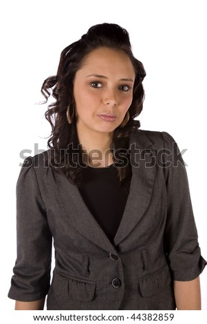 A close up of a business woman with a sad expression on her face.