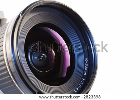 A close-up of a camera lens