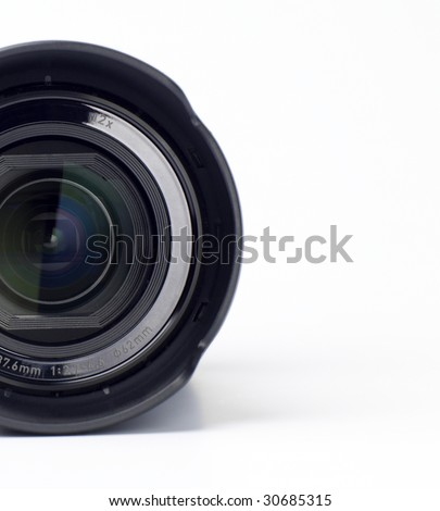 A close up of a camera lens - stock photo