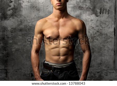 a close up of a chest of a man - stock photo