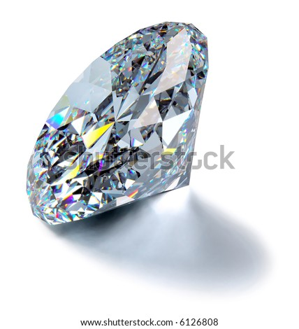 A close up of a diamond over a white background