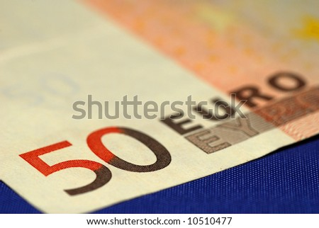 A close-up of a 50 euro bill.