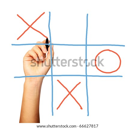 A close up of a female hand playing noughts and crosses over white background