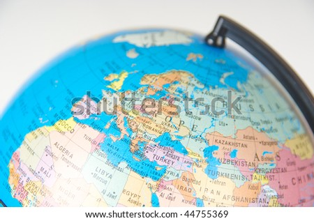A close-up of a globe. Focus on Europe. - stock photo