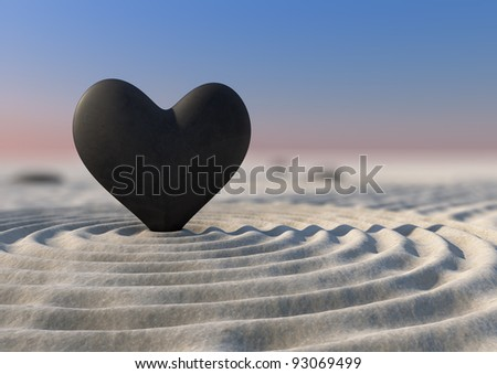 A close-up of a japanese zen garden with a heart shaped stone - stock photo