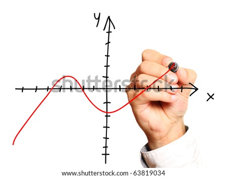 A close-up of a male hand drawing numerical axis over white background - stock photo