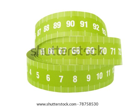 A close up of a measurement tape on a white background - stock photo