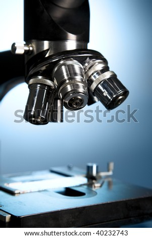 A close up of a microscope - stock photo