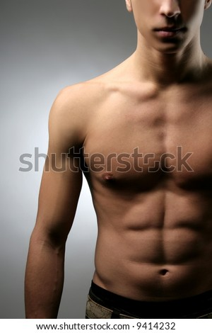 a close up of a naked man - stock photo