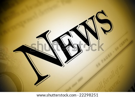 A close-up of a newspaper with the word News emphasized in black on a brown/gold background. - stock photo