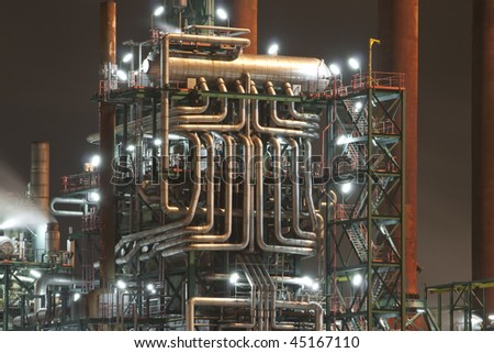 A close up of a petrochemical tube construction - stock photo