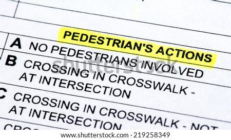 A close up of a police report listing pedestrians  - stock photo