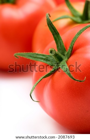 A close up of a red tomato