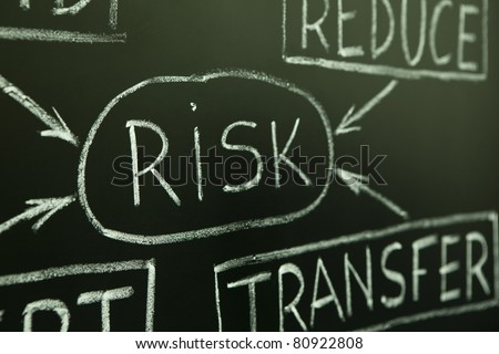 A close up of a risk management flow chart on a blackboard. - stock photo