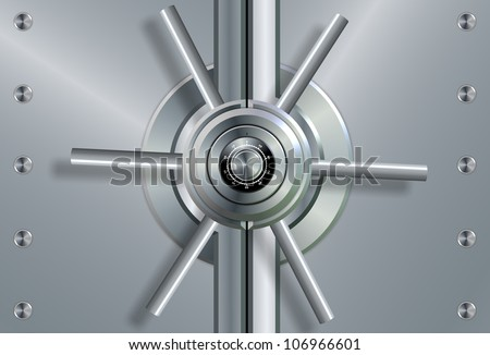 a close up of a shiny steel vault door and combination lock / vault - stock photo