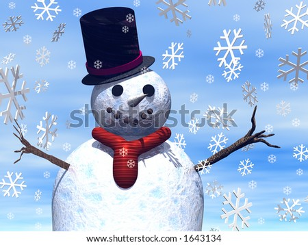 A Close up of a snowman with snowflakes - stock photo