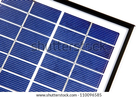 A close-up of a solar cell panel isolated on white background - stock photo