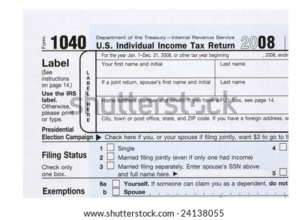 A close up of a 1040 tax form. - stock photo