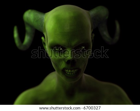 A close-up of a vampire zombie in mid attack. - stock photo
