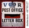 A close up of a Victorian post box - stock photo