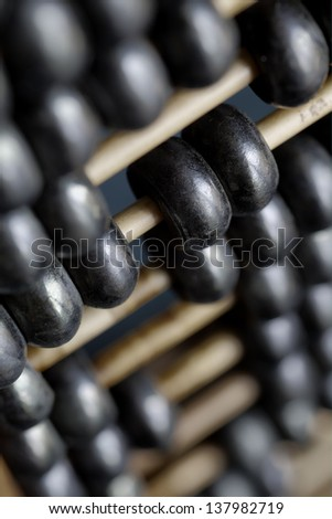 A close up of a vintage Chinese abacus - stock photo